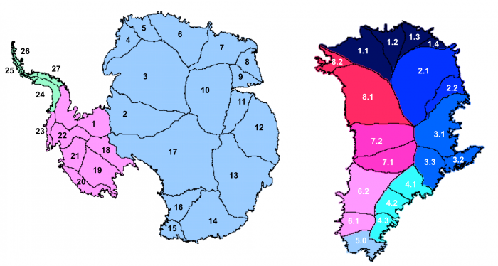 Antarctica (left) and Greenland (right) drainage basin definitions used by IMBIE 2016 (Zwally et al., 2012)